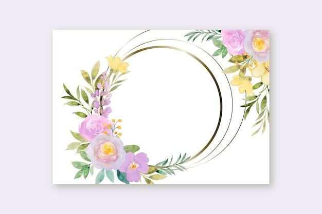 Żółta fioletowa ramka w kwiaty z akwarelą