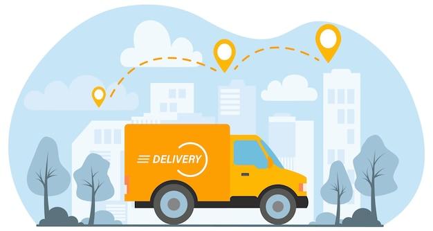 Żółta furgonetka dostarcza paczkę w mieście. koncepcja ekspresowej dostawy. ilustracja wektorowa w stylu płaski