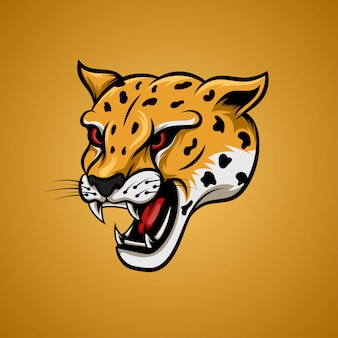 Żółta głowa geparda w kącie bocznym