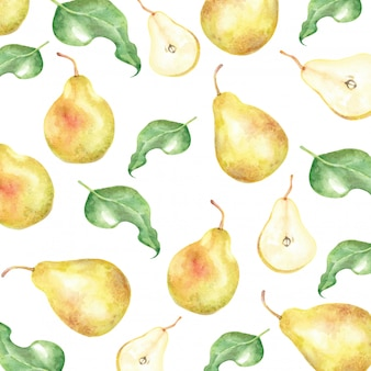Żółta gruszka i liście akwarela wzór