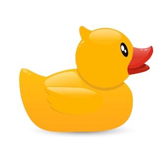 Żółta gumowa kaczka. zabawka do kąpieli dla niemowląt.