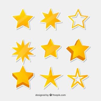Żółta gwiazda zestaw dziewięciu