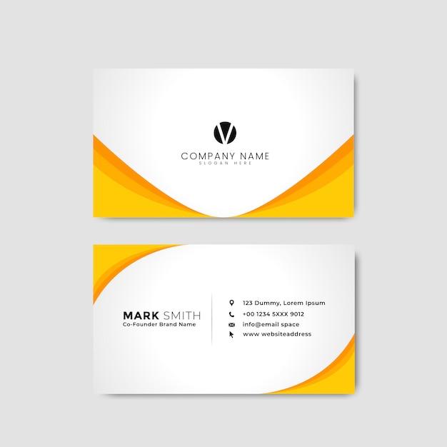 Żółta i biała wizytówka