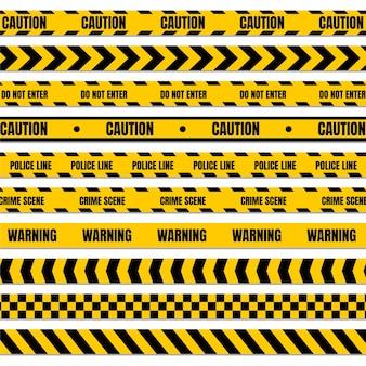 Żółta i czarna taśma policyjna do ostrzegania o niebezpiecznych miejscach