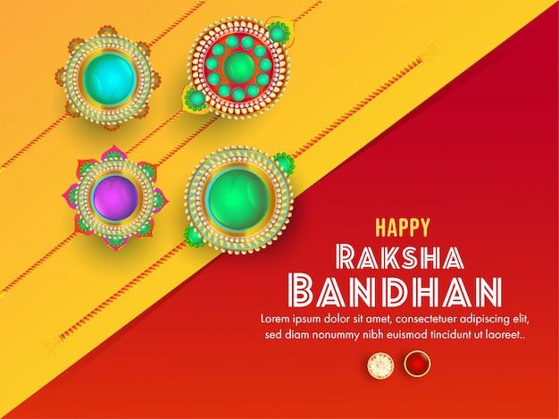 Żółta i czerwona kartka z życzeniami ozdobiona różnymi pięknymi rakhi na szczęśliwe obchody raksha bandhan.