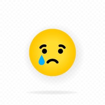 Żółta ikona emoji. płacz emoji. smutna twarz z emotikonami. czat, komentarz, emotikony reakcji.