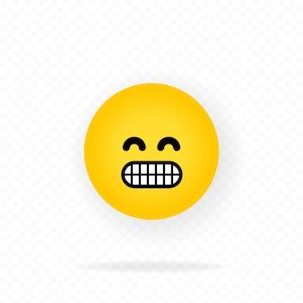 Żółta ikona emoji. szczęśliwa twarz z emotikonem uśmiech. czat, komentarz, emotikony reakcji.