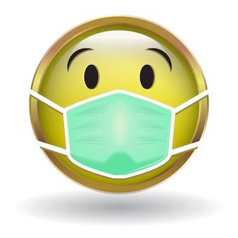 Żółta ikona twarzy z maską