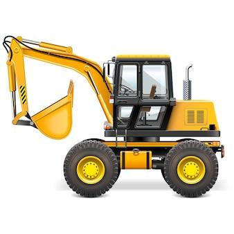 Żółta ilustracja maszyny budowlane