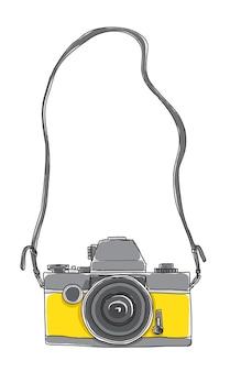 Żółta kamera vintage ręcznie rysowane wektor