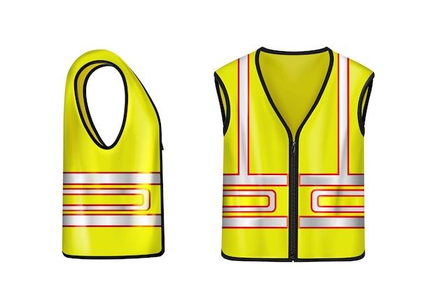 Żółta kamizelka ochronna z odblaskowymi paskami, przeznaczona do prac budowlanych