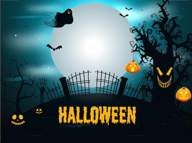 Żółta kapiąca czcionka halloween z lampionami jack-o-lantern, szkieletowymi rękami, duchem i nietoperzami latającymi na tle strasznego lasu w pełni księżyca.
