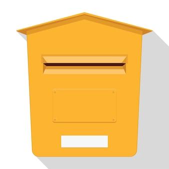 Żółta klasyczna skrzynka pocztowa. ikona skrzynki pocztowej. skrzynka na listy.