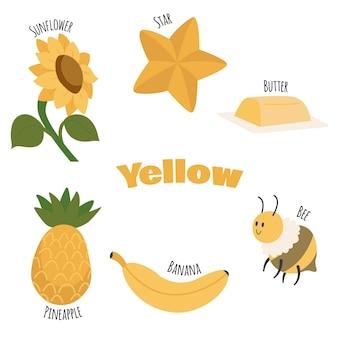 Żółta kolekcja przedmiotów i słów słownictwa