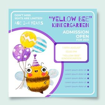 Żółta kwadratowa ulotka dla przedszkola pszczół