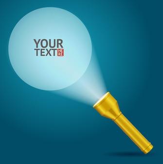 Żółta latarka z przykładowym szablonem tekstowym. podstawowy pomysł.