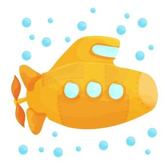 Żółta łódź podwodna pod wodą na białym tle. styl projektowania kreskówek. ilustracja wektorowa