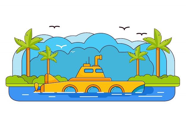 Żółta łódź podwodna. wycieczka przygodowa po morzu. podwodny peryskop statku. lato morska podróż. podróż morska. tropikalna wyspa drzewko palmowe. wyprawa przez może.