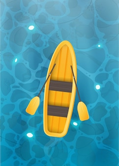 Żółta łódź z wiosłami