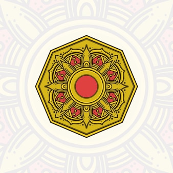 Żółta mandala na tło ramadan kareem