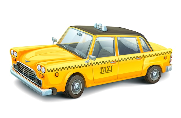 Żółta miejska taksówka