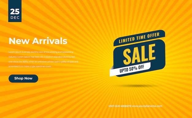 Żółta, nowoczesna promocja szablonu banera ze zniżką na sprzedaż flash z etykietą z etykietą z ceną all new arrival