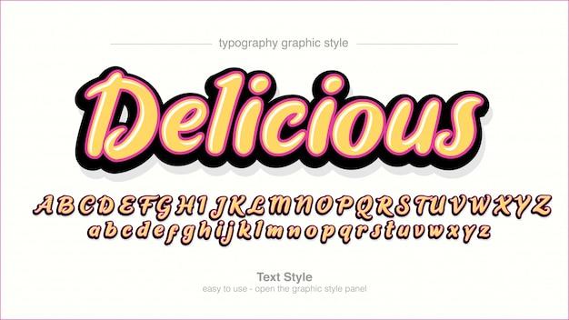 Żółta, odważna, odręczna typografia artystyczna