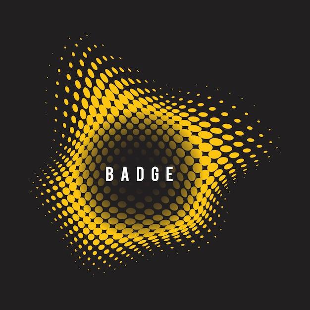 Żółta odznaka półtonów faliste na czarnym tle