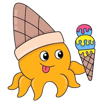 Żółta ośmiornica niesie stożek lodów gotowy do spożycia, ilustracji wektorowych sztuki. doodle ikona obrazu kawaii.