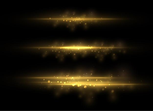 Żółta, pozioma flara. wiązki laserowe, poziome wiązki światła.