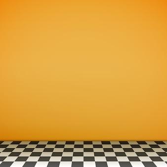 Żółta pusta scena z podłogą szachownicy