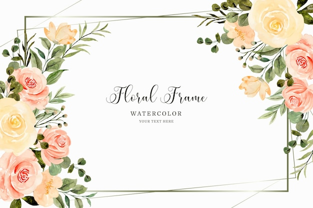 Żółta róża kwiatowa ramka z akwarelą