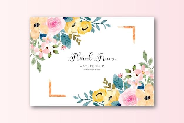 Żółta różowa karta z ramką kwiatową