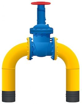 Żółta rura gazociągu i duży kran gazu