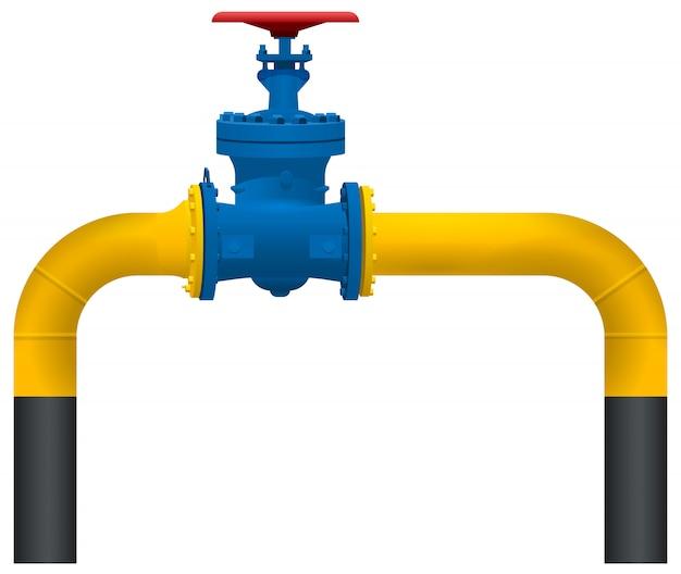 Żółta rura gazociągu i duży zawór gazu