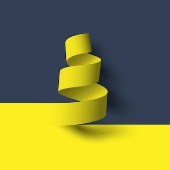 Żółta spiralna rolka papieru z cieniami