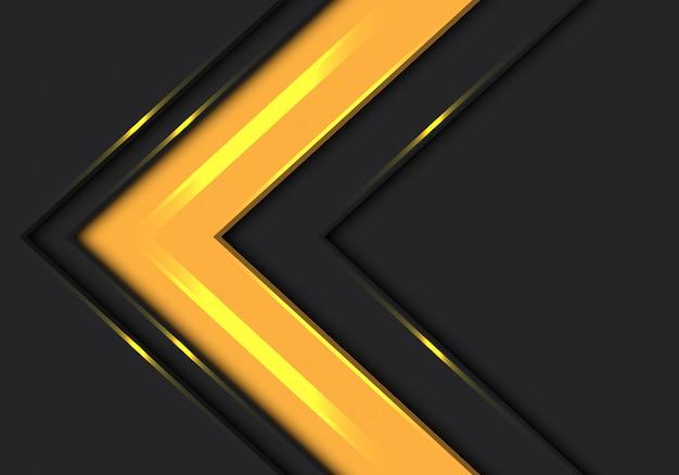 Żółta strzałka kierunek prędkości na ciemnoszarym tle.