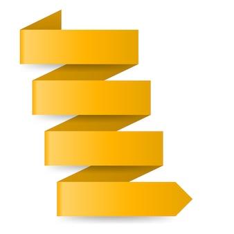 Żółta strzałka papieru w kształcie zygzaka na białym tle