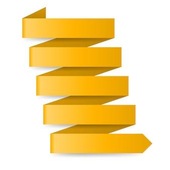 Żółta strzałka papieru zygzakowatego na białym tle