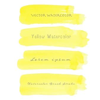 Żółta szczotkarska uderzenie akwarela na białym tle