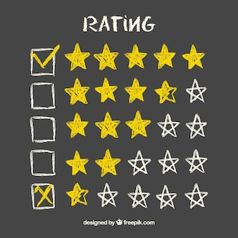 Żółta tablica gwiazda ocena koncepcji