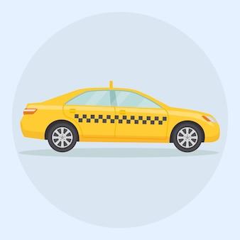 Żółta taksówka, samochód. usługi transportowe