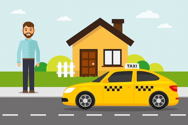 Żółta taksówka z pasażerem i domem