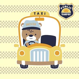 Żółta taksówka z uroczym kierowcą