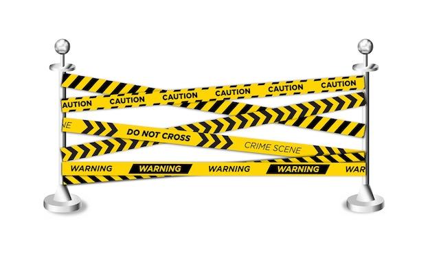 Żółta taśma policyjna z barierkami na stojaku. ilustracja wektorowa eps 10