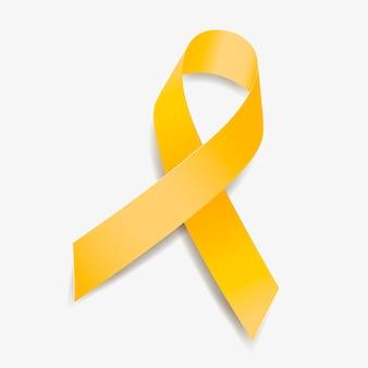 Żółta wstążka świadomości gruczolakomięsak, rak pęcherza moczowego, rak kości, endometrioza, mięsak, rozszczep kręgosłupa. na białym tle. ilustracja wektorowa.