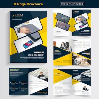 Żółte 8 stron business brochure design