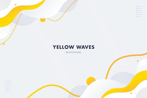 Żółte białe fale abstrakcyjne tło dla szablonu ulotki broszury projekt