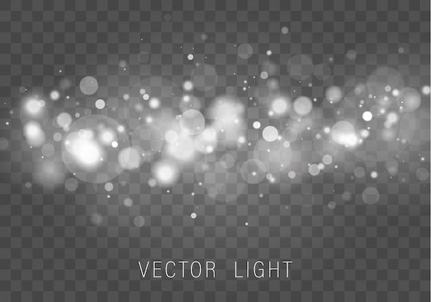 Żółte białe złoto światło abstrakcyjne świecące efekt światła bokeh na białym tle.