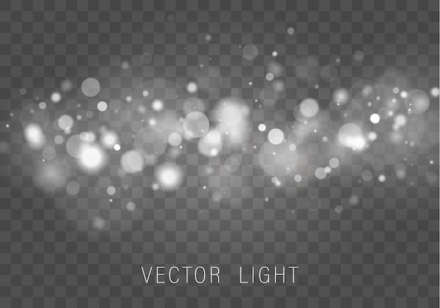 Żółte białe złoto światło streszczenie świecące światła bokeh efekt na białym tle na przezroczystym tle. świąteczne fioletowe i złote świecące tło. pojęcie. niewyraźne światło ramki.